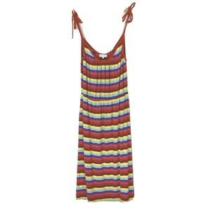 Warehouse US 8 / UK 12 Dress Midi Rainbow Stripe